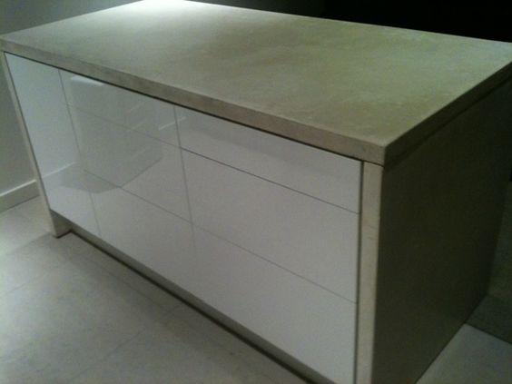 Beautiful island made with standard Ikea kitchen cabinets. Besta ...