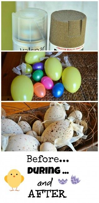 Spray painted faux Easter egg craft decor tutorial - Debbiedoo's @micmanno
