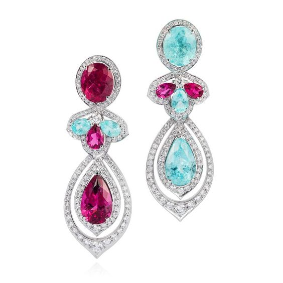 VanLeles Brazilian Paraiba tourmaline, rubellite and diamond earrings
