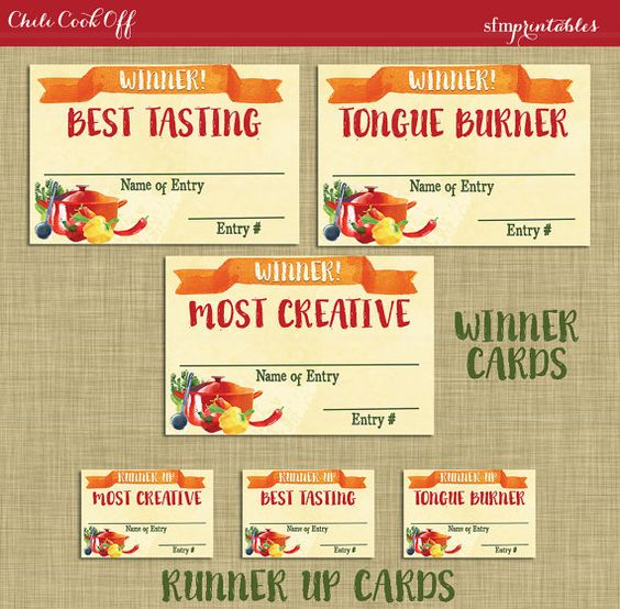 Instant download chili cookoff winner badges labels for Chili cook off award certificate template