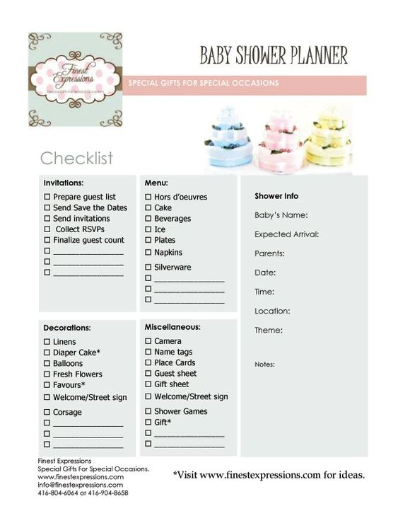Baby Shower Planning Baby Shower Planner Checklist