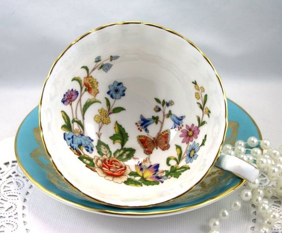 Reserved for M.Aynsley Cup & Saucer, Floral Butterfly Pattern, Oban Shape,Sky Blue Gilded Borders, Bone English China made in 1970s