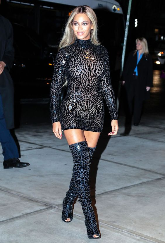 beyonce. killer style. thigh high boots and bodycon dress. | Must ...