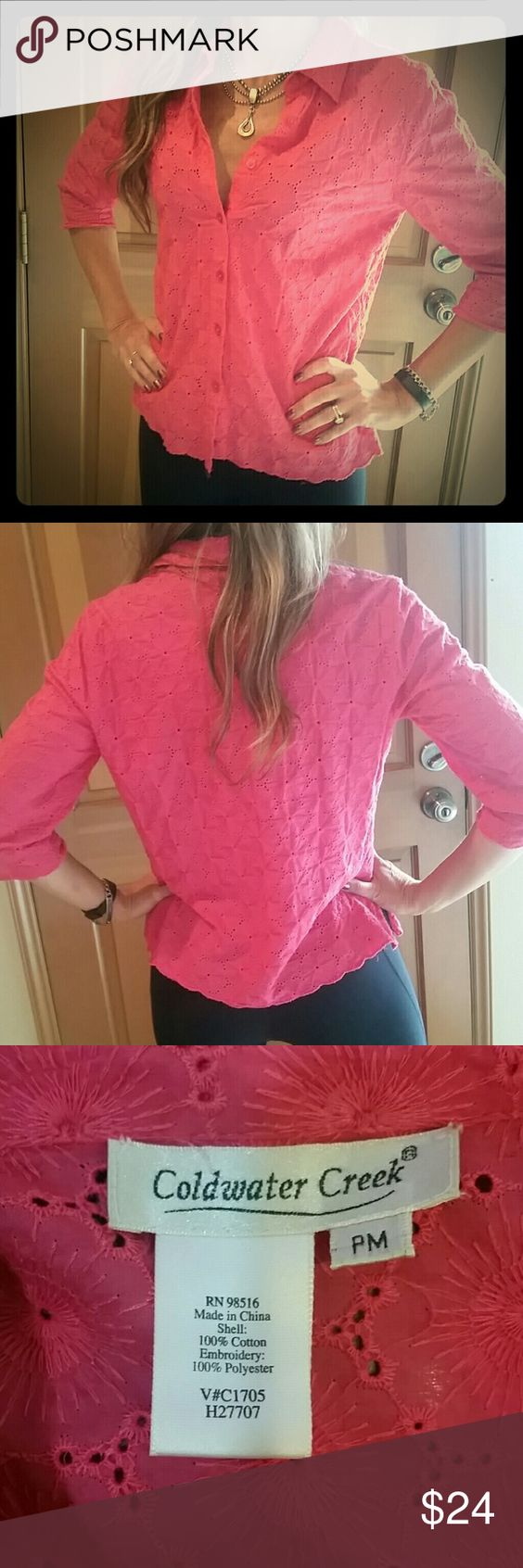 Coldwater creek hot pink blouse Delicate cutouts. Like new condition. Size PM (petite medium I believe!) Coldwater Creek Tops Blouses