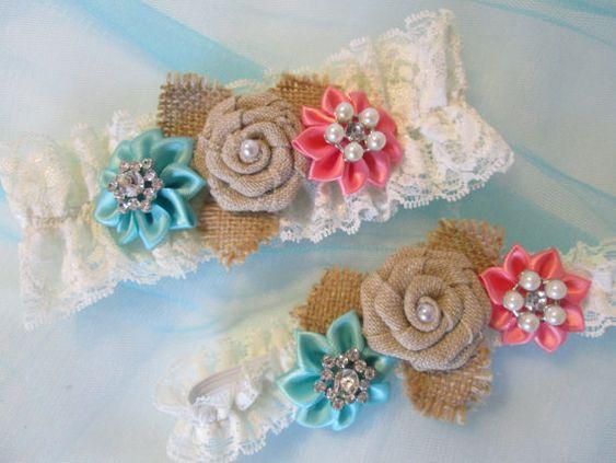 BURLAP Wedding Garter Set Coral Garter Teal by GibsonGirlGarters
