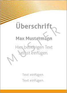 Muster Zertifikat, Diplom, Urkunde Rahmen, Streifen Wellen oben, Orange