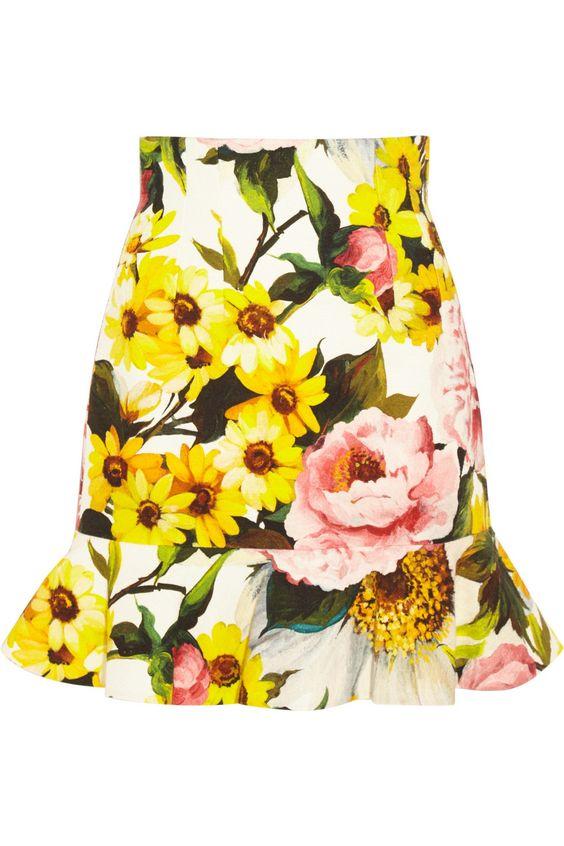 Dolce & Gabbana|Floral-print textured stretch-cotton skirt|NET-A-PORTER.COM