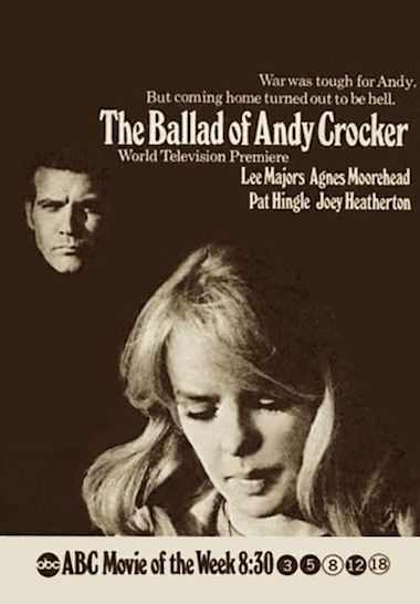 """THE BALLAD OF ANDY CROCKER 1969 TV movie.  Soul singers Marvin Gaye and Bobby Hatfield (The Righteous Brothers) co-star in this, """"Coming Home from Vietnam"""" film. Also on hand is country singer Jimmy Dean. On DVD."""