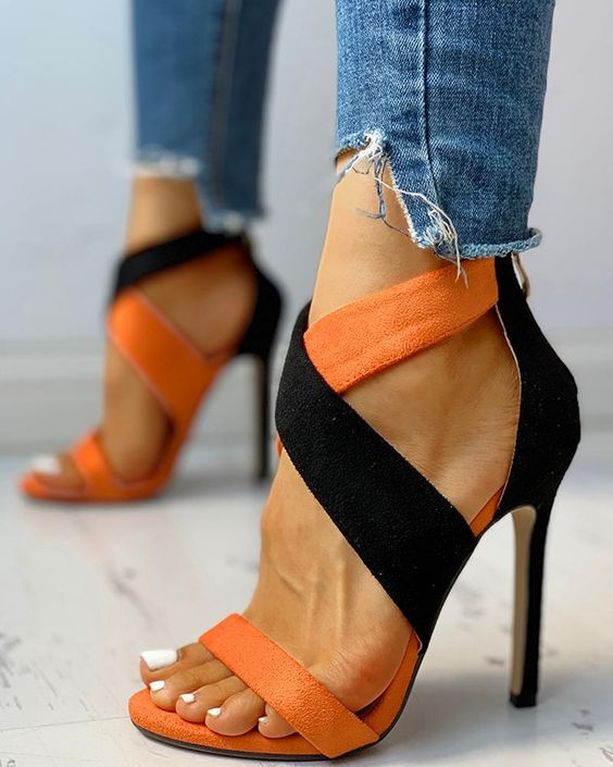 Colorblock Crisscross Thin Heeled Sandals