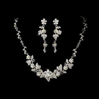 Swarovski Crystal & Pearl Floral Bridal Jewelry Set. I like delicate, tiny, elegant crystal flowers.