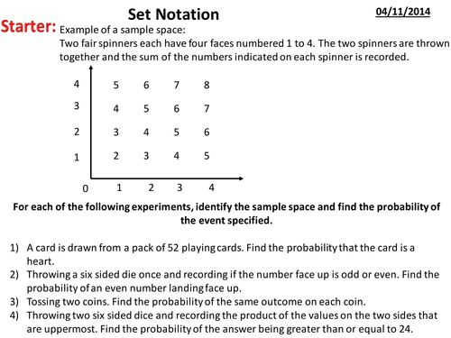 Set notation(1)pptx Statistics Pinterest Set notation, Venn - sample variance