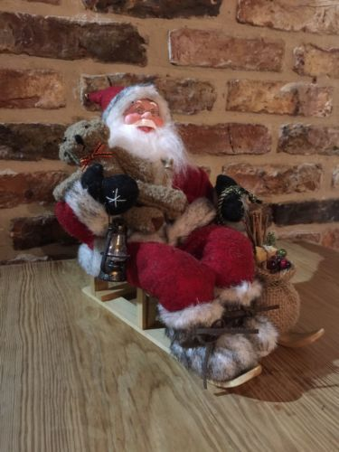Vintage style santa #claus on a #sledge #figurine,  View more on the LINK: http://www.zeppy.io/product/gb/2/182355257865/