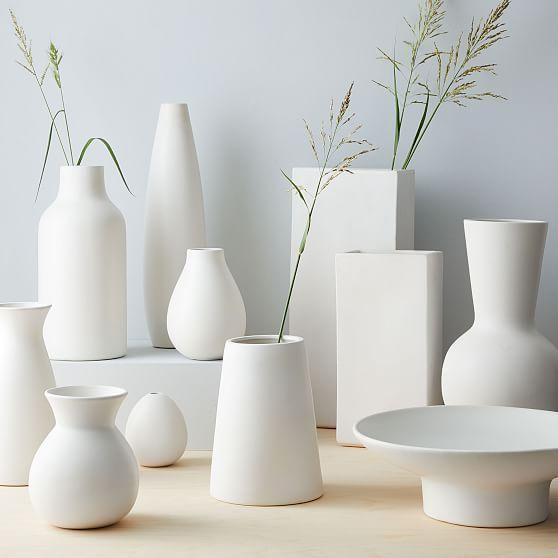 Pure White Ceramic Vase Raindrop At West Elm Decorative Vases Vase In 2020 White Ceramic Vases Vases Decor Ceramic Vase Centerpiece