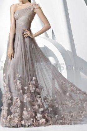 A-line One Shoulder Tulle Floor-length Champagne Prom Dress
