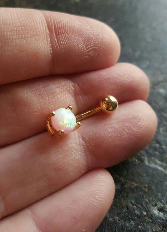 Vergoldete White OPAL 14g 1.6 mm Nabel Bauch von FeatherBlueJewelry