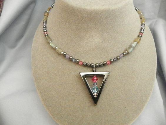 Labrodorite, Hematite and Swarovski crystals in Bisexual colors.
