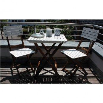 Das klassische Balkonset Wien von Consul Garden aus Akazienholz passt einfach auf jeden Balkon. Der Mix aus natürlichem Holz und weiß lackierter Sitz- & Rückenfläche ist schlicht und elegant.
