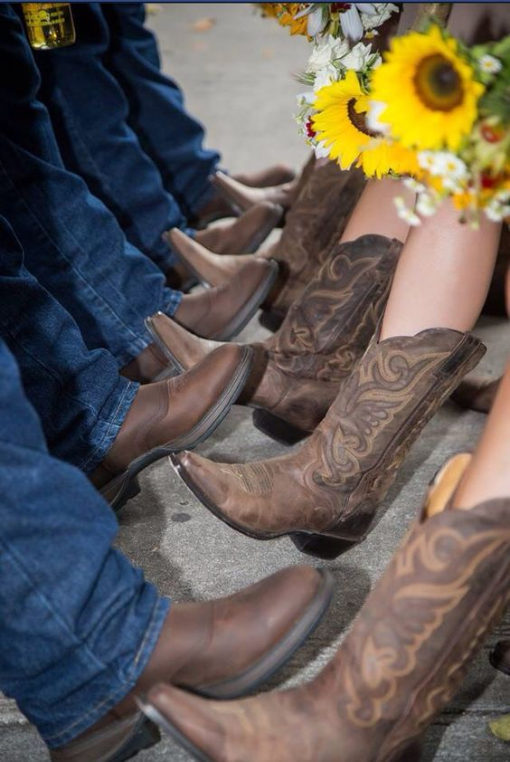 Bridesmaids and groomsmen cowboy boots / http://www.deerpearlflowers.com/cowgirl-boots-fall-wedding-ideas/2/
