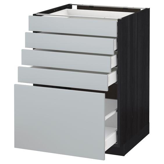 METOD \/ MAXIMERA, Unterschrank mit 5 Schubladen, schwarz Jetzt - unterschrank küche selber bauen