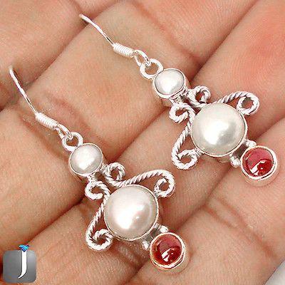 Pearl Earrings Garnet Earrings Multi Stone Earrings Dangle Earrings Birthstone Earrings Sterling Silver Pearl Jewelry Garnet Jewelry - pinned by pin4etsy.com