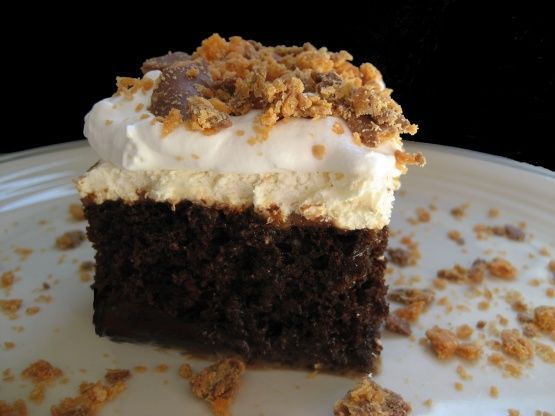 This cake is rich, decedent, and made with Butterfingers for an extra special touch.