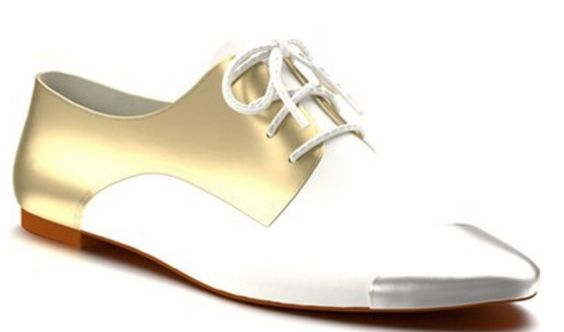 Gold and White Metallic Cap-Toe Oxfords