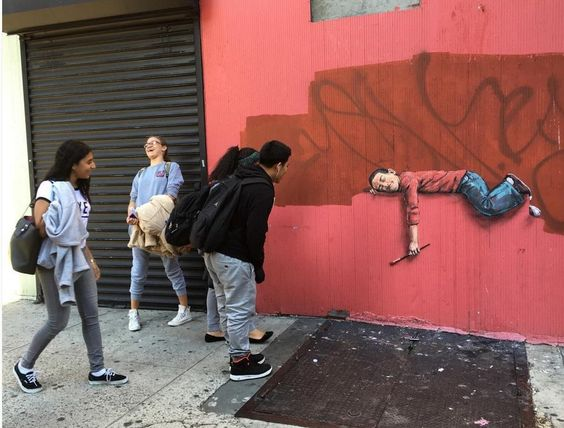 Ernest Zacharevic in Brooklyn, NYC, 2015
