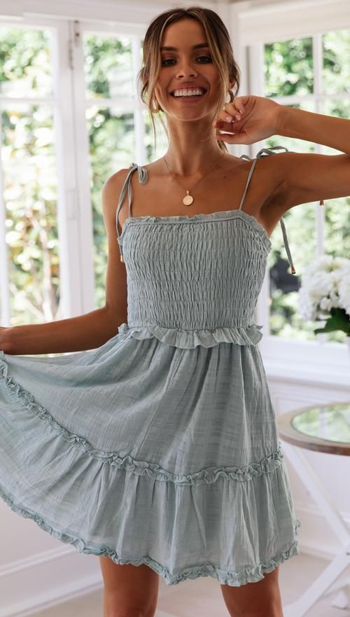 Dita Mini Dress (Sage)   Casual summer