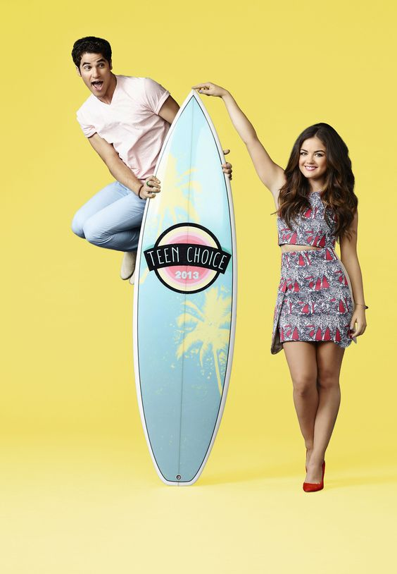 TEEN CHOICE 2013: Musician, actor and 2011 TEEN CHOICE breakout star Darren Criss (L) and singer, actress and three-time TEEN CHOICE winner Lucy Hale (R) to co-host TEEN CHOICE 2013 airing LIVE Sunday, Aug. 11 (8:00-10:00 PM ET live/PT tape-delayed) on FOX.