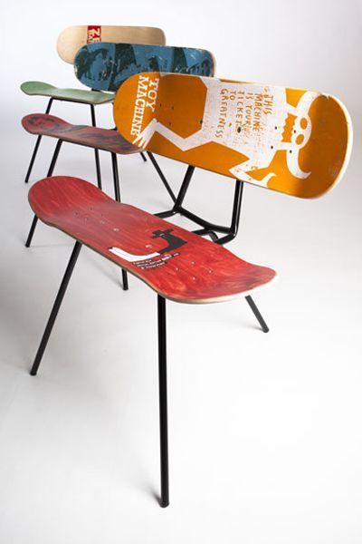 Panche realizzate con vecchi skateboard #home #design