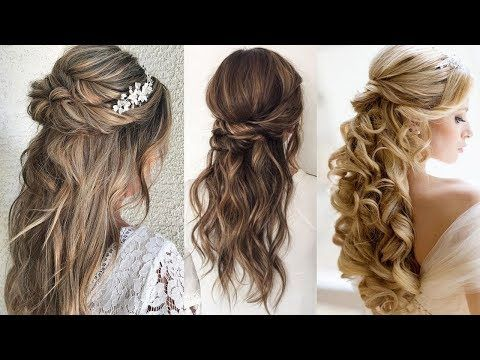 Half Up Bun Hairstyle Wedding Updo Hairstyle For Long Hair Bridal Romantic Glamour Braids Youtube In 2020 Bun Hairstyles Hair Styles Long Hair Styles