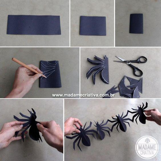 Aniversário tema Halloween - Enfeite de aranha para dia das bruxas - Passo a Passo - PAP - DIY tutorial - How to make spider garland for Halloween: