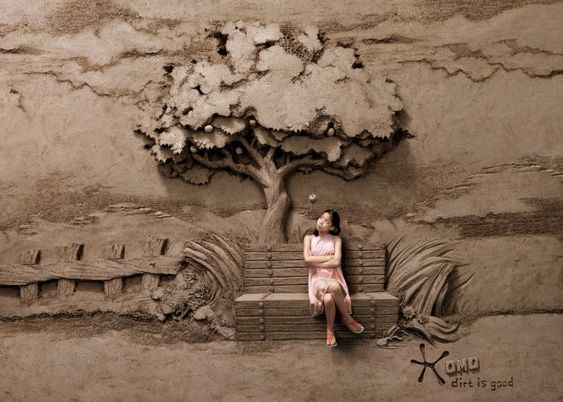 Dirt is Good: 18 ton Sand Sculpture Backdrops by JOOheng Tan