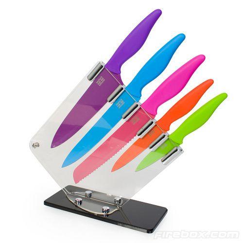 colored kitchen knife block set | products i'd like | pinterest