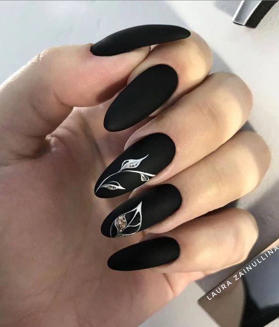 45 Awesome Black Almond Matte Nail Designs To Inspire You Almondnails In 2020 Matte Black Nails Matte Nails Design White Nail Designs