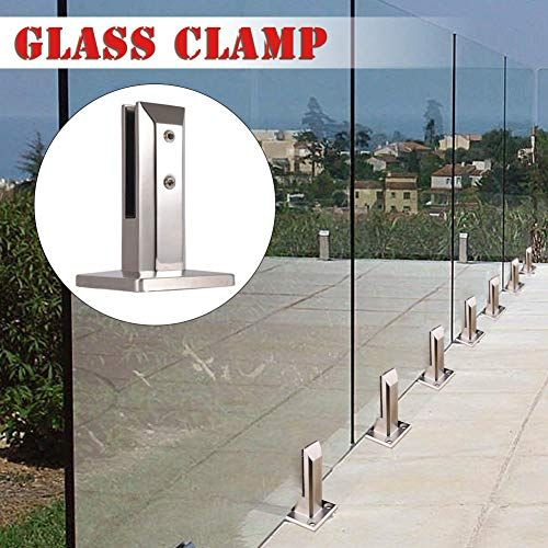 Jinclonder Stainless Steel Glass Fence Clip For Pool Glass Panel Pole Balcony Glass Floor Clamp Fixtures For Home St Glass Floor Glass Fence Glass Balcony