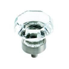 1-1/4 Inch Clear Glass Knob With Satin Nickel Base - for dinning room buffet