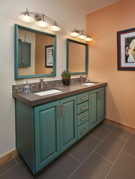 Eclectic Guest Bath Slate Countertop With Dual Under Mounted Sinks And Iridescent Glass Tile