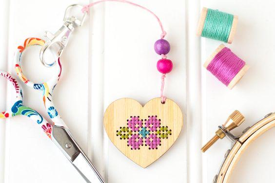 DIY Kit, Heart Zipper Pull, Embroidery Scissor Fob, Modern Cross Stitch Kit, Embroidered Zipper Charm, Key Chain Charm, Key Ring by RedGateStitchery on Etsy https://www.etsy.com/listing/275478448/diy-kit-heart-zipper-pull-embroidery