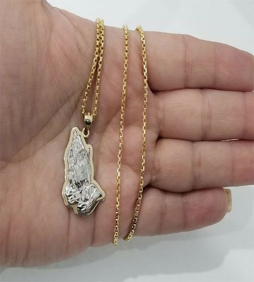 10k Yellow White Praying Hands Pendant Charm Necklace Unisex By Rg D 10kt Yellowgold Gold Yellow Fashion On White Gold Pendants Charms Womens Necklaces