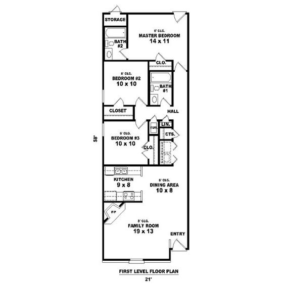House plan 81 13857 long and narrow by for for Long thin house plans