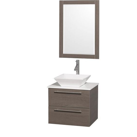 Amare 24-inch W Vanity in Grey Oak with Stone Top in White and Porcelain Sink