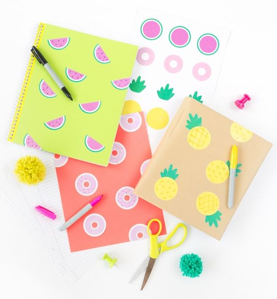 Decorate school notebooks, binders, folders and book covers with these free yummy printables from Design, Eat, Repeat. Just pick up some solid colored items and kraft wrap and then slap on these fun watermelon, donuts, and pineapple stickers to create a DIY notebook. Just use Avery Round Labels (22807) and the pre-made sticker sheet designed and ready to go. Draw on your own embellishments, adding another fun DIY element for kids.