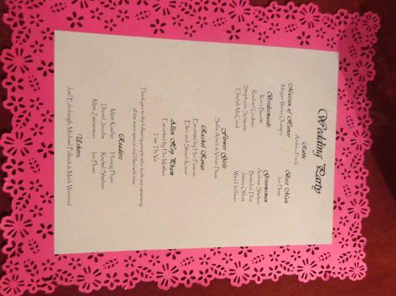Paper cut Wedding Program - Handmade using a punch tool by Martha Stewart crafts
