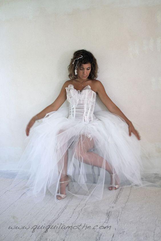 Robe de mariée transformable tulle glamour.