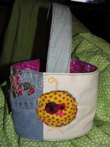 Easter Basket made from re-purposed jeans, etc.  ~Devz Bagz