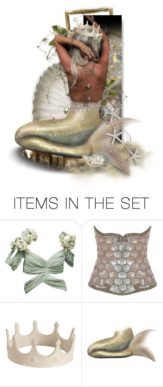 """""""collecting iridescence"""" by mutterfly ❤ liked on Polyvore featuring art, mermaid, expression, dollset, golds and pearly"""