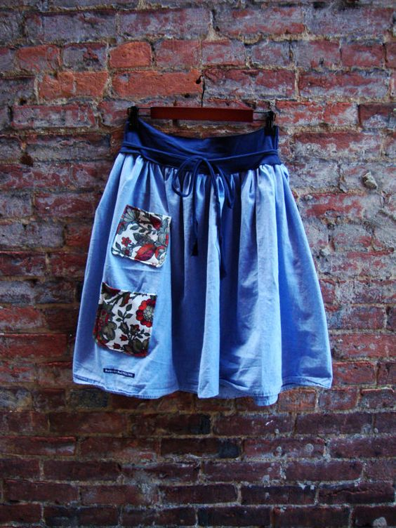 Womens Skirt/ Upcycled Skirt with Pockets/ by RebirthRecycling, $55.00