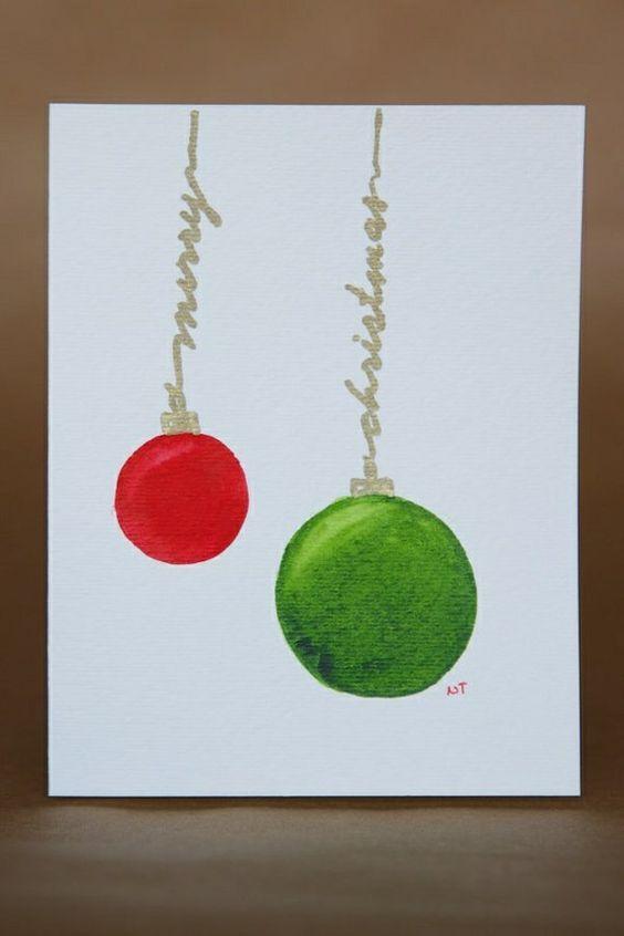 Sch ne weihnachtskarten selber basteln gr n rot kugel weihnachtsbasteln pinterest - Niedliche weihnachtskarten ...