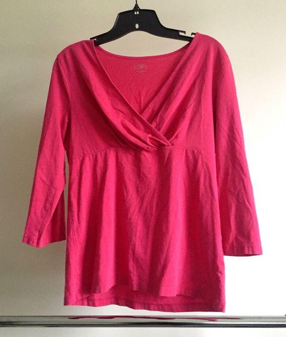 Details about Ann Taylor Loft womens pink blouse shirt size M ...